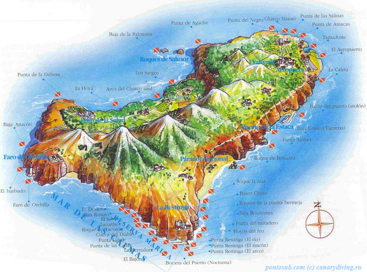 Карта острова Йерро с